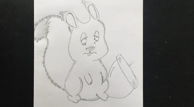 Mann isst Eichhörnchen